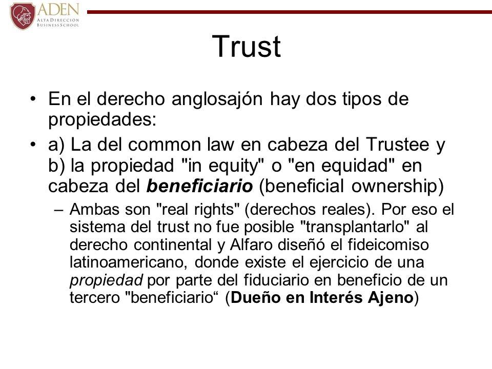 Trust En el derecho anglosajón hay dos tipos de propiedades: