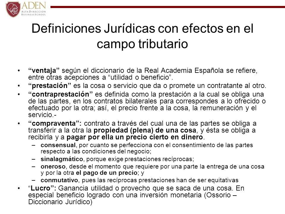 Definiciones Jurídicas con efectos en el campo tributario