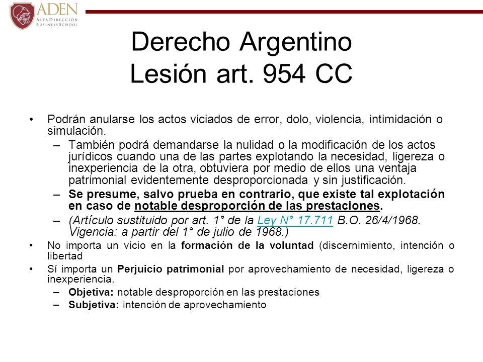Derecho Argentino Lesión art. 954 CC
