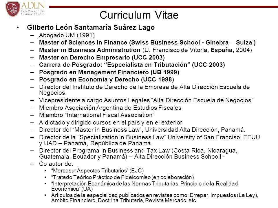 Curriculum Vitae Gilberto León Santamaría Suárez Lago