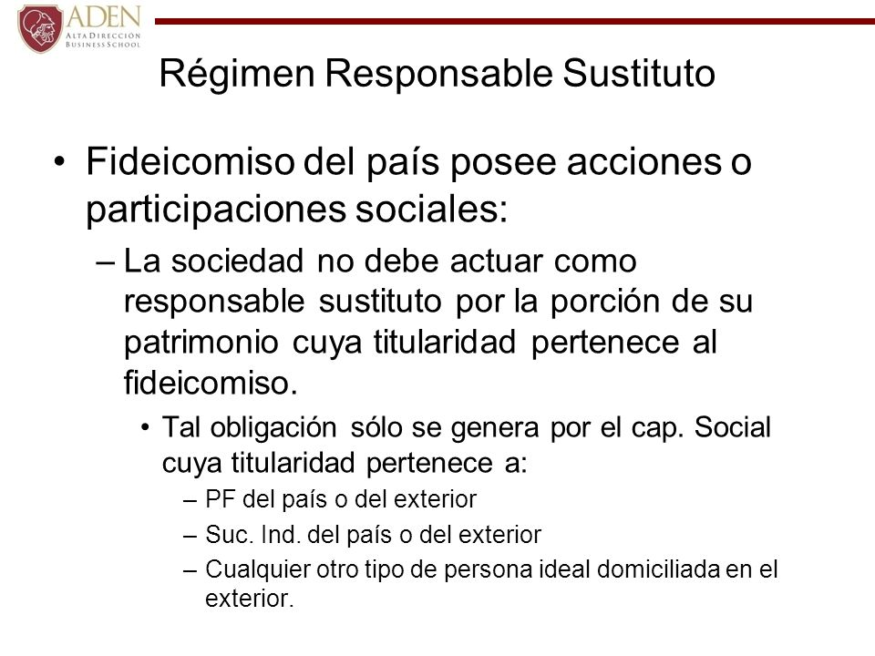 Régimen Responsable Sustituto