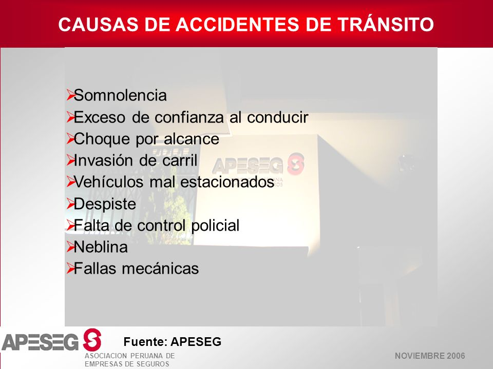 CAUSAS DE ACCIDENTES DE TRÁNSITO