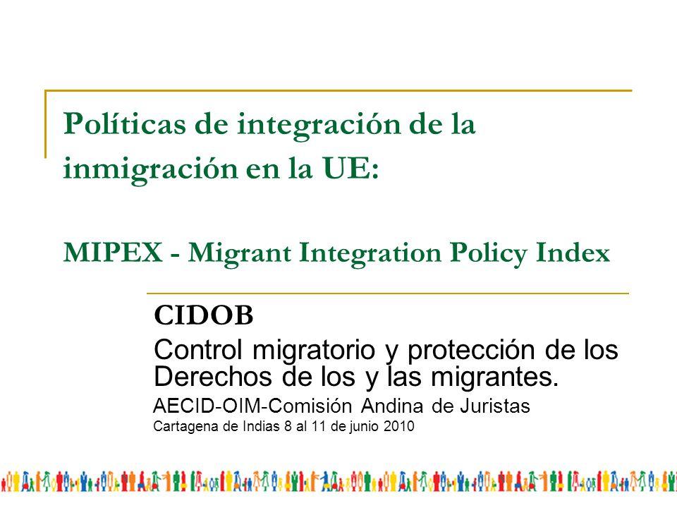 Políticas de integración de la inmigración en la UE: MIPEX - Migrant Integration Policy Index