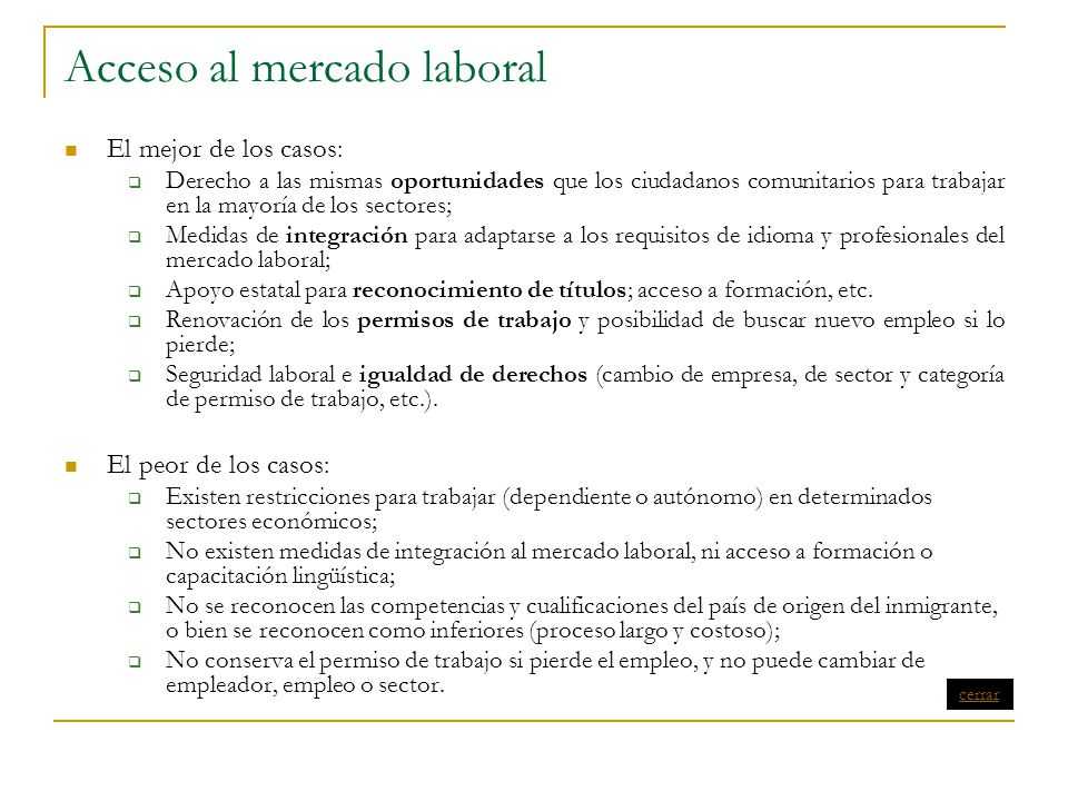 Acceso al mercado laboral