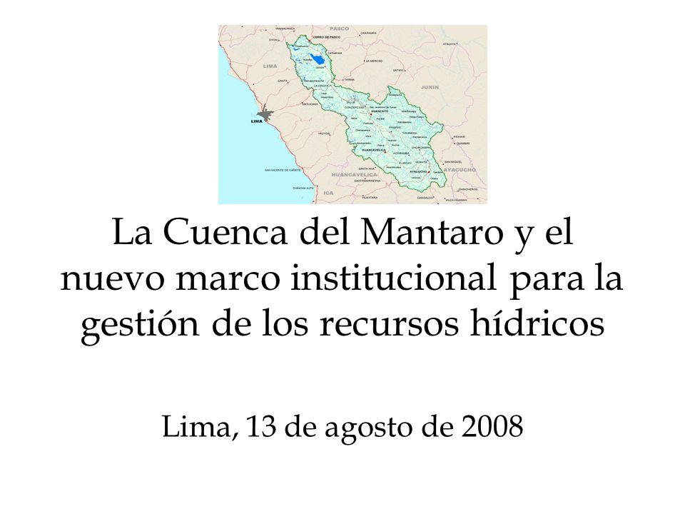 La Cuenca del Mantaro y el nuevo marco institucional para la gestión de los recursos hídricos