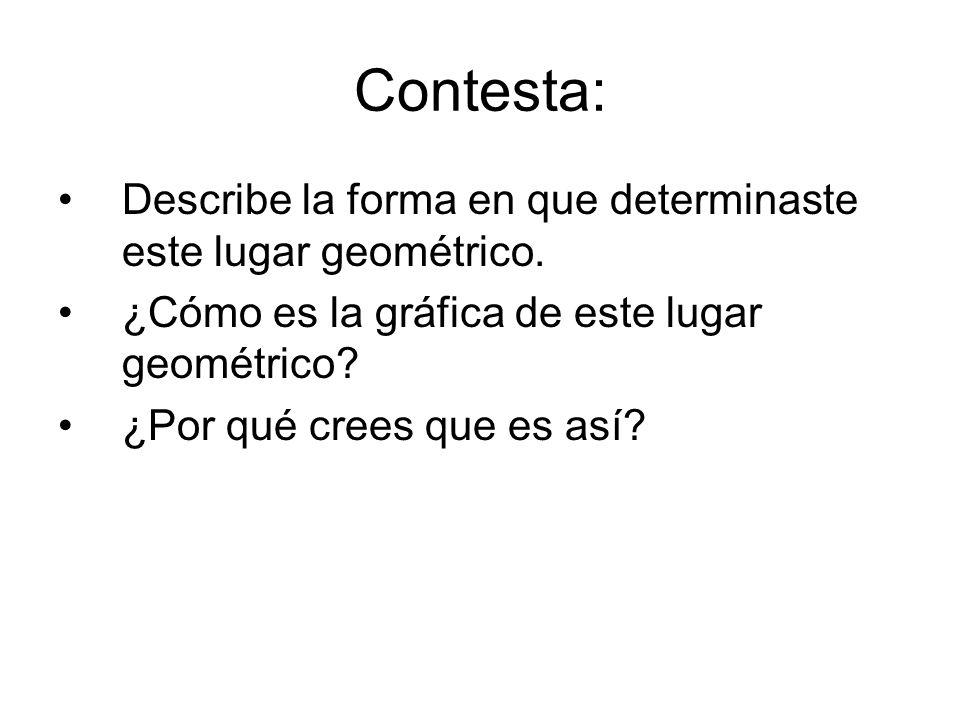 Contesta: Describe la forma en que determinaste este lugar geométrico.