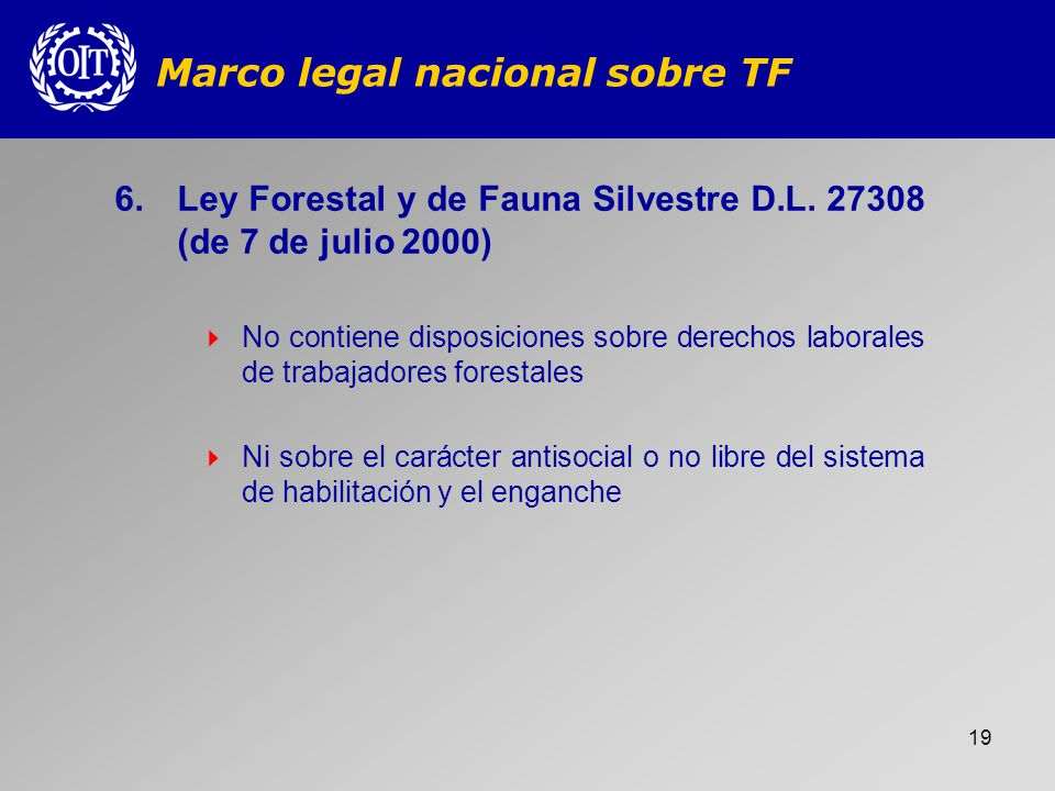 Marco legal nacional sobre TF