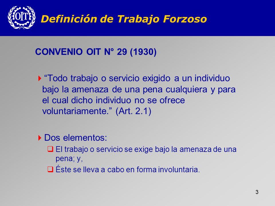 Definición de Trabajo Forzoso