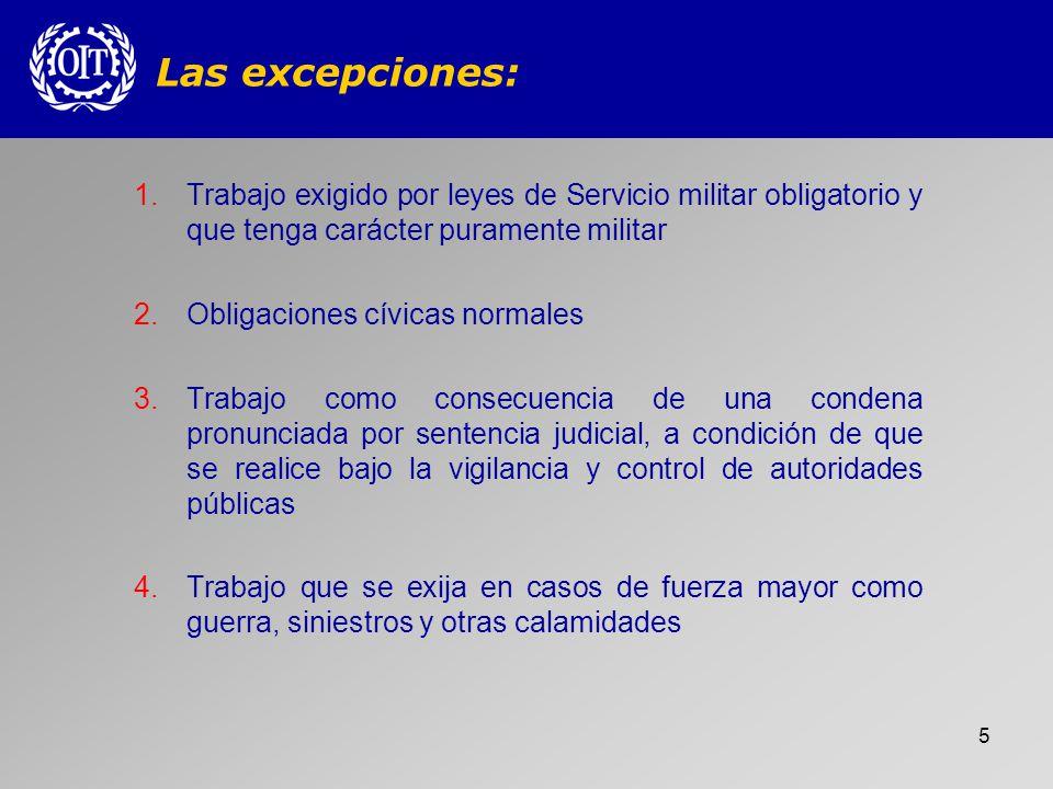 Las excepciones: Trabajo exigido por leyes de Servicio militar obligatorio y que tenga carácter puramente militar.