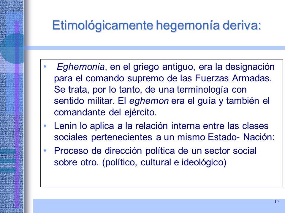 Etimológicamente hegemonía deriva:
