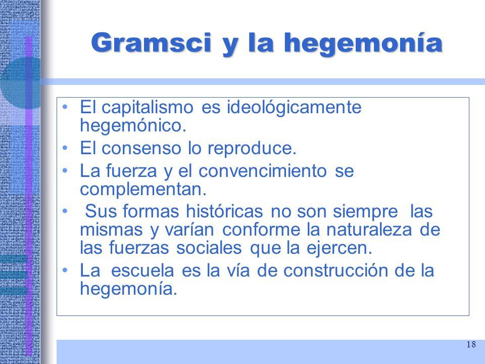 Gramsci y la hegemonía El capitalismo es ideológicamente hegemónico.