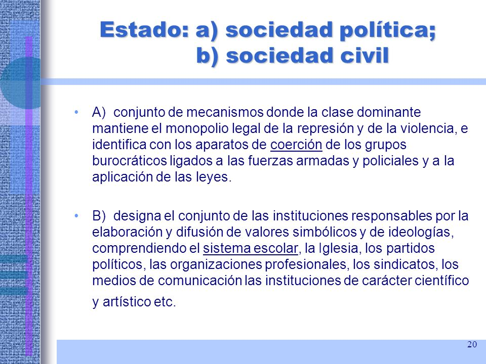 Estado: a) sociedad política; b) sociedad civil
