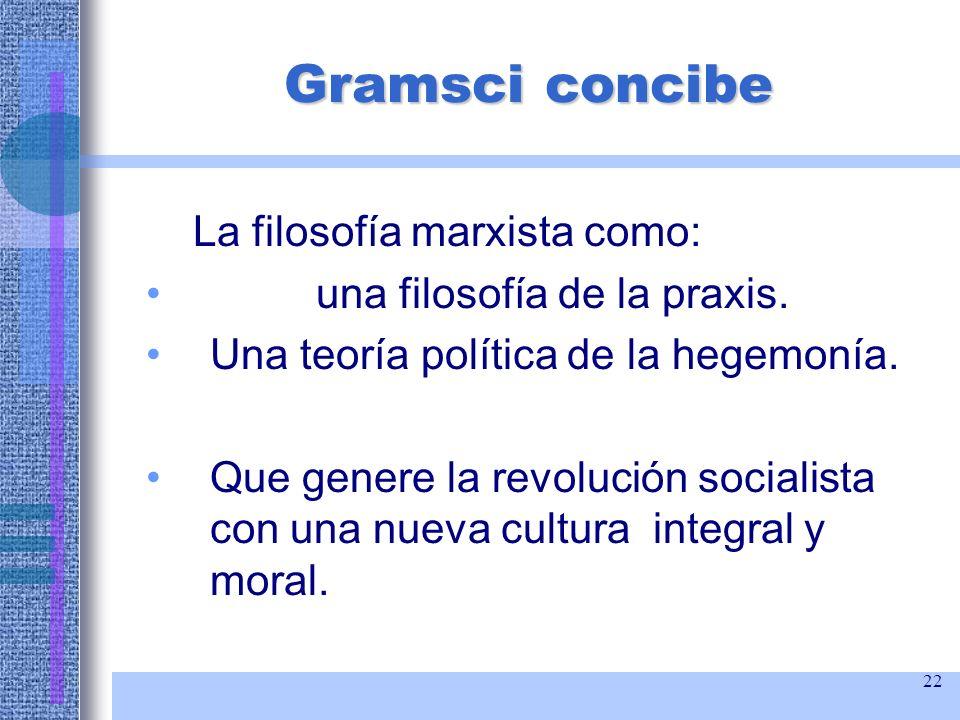 Gramsci concibe La filosofía marxista como:
