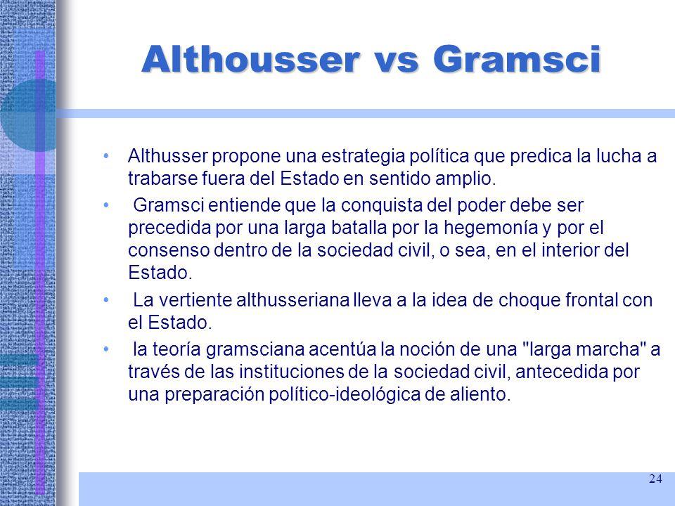 Althousser vs Gramsci Althusser propone una estrategia política que predica la lucha a trabarse fuera del Estado en sentido amplio.