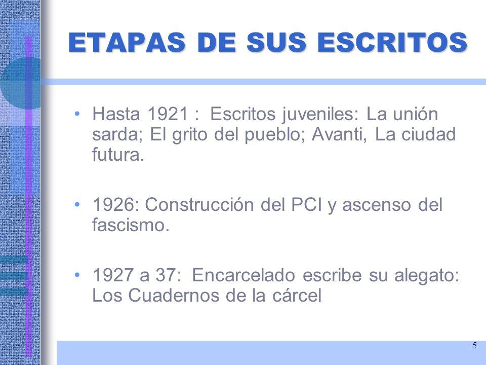 ETAPAS DE SUS ESCRITOS Hasta 1921 : Escritos juveniles: La unión sarda; El grito del pueblo; Avanti, La ciudad futura.