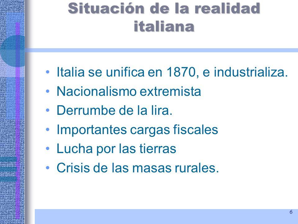 Situación de la realidad italiana