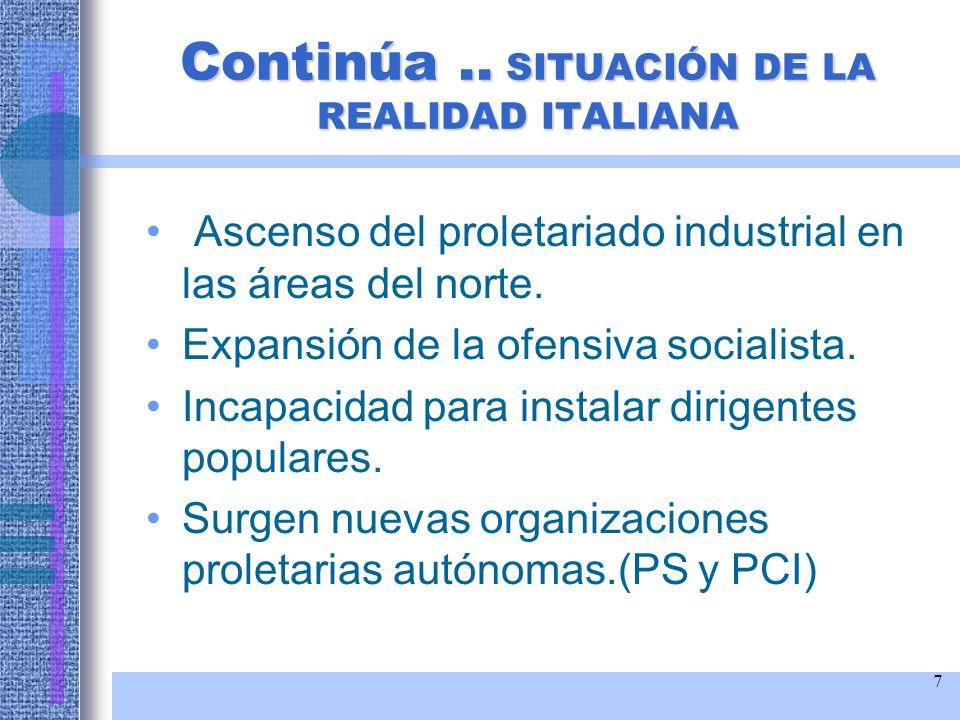 Continúa .. SITUACIÓN DE LA REALIDAD ITALIANA