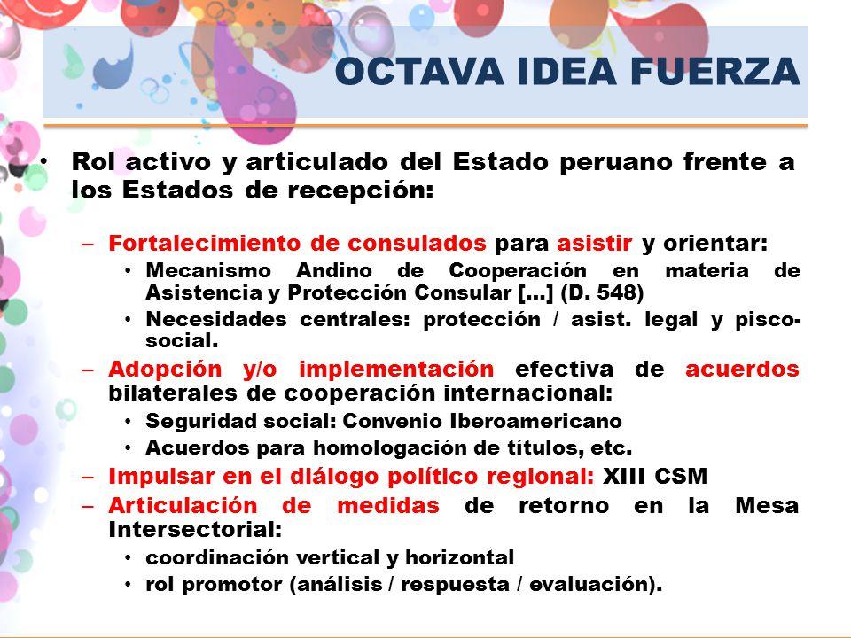 OCTAVA IDEA FUERZA Rol activo y articulado del Estado peruano frente a los Estados de recepción: