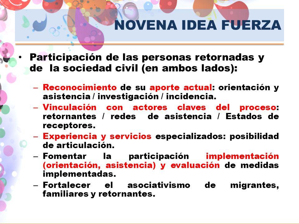 NOVENA IDEA FUERZA Participación de las personas retornadas y de la sociedad civil (en ambos lados):