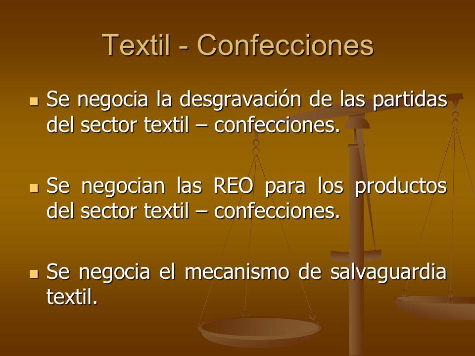 Textil - Confecciones Se negocia la desgravación de las partidas del sector textil – confecciones.