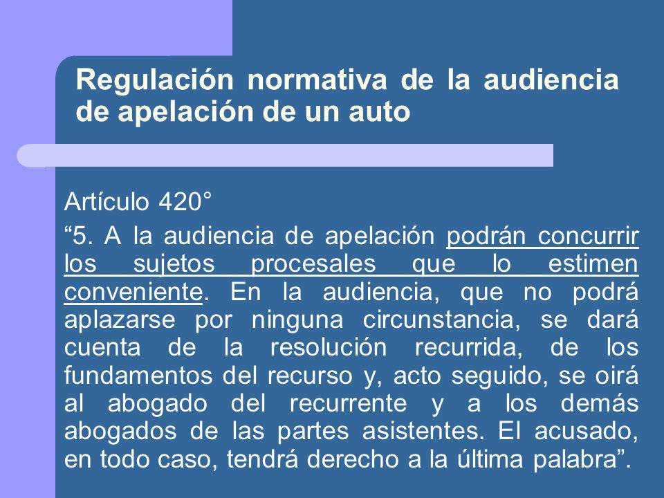 Regulación normativa de la audiencia de apelación de un auto
