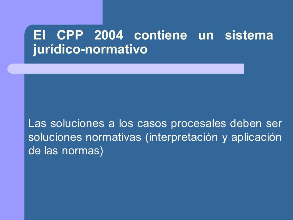 El CPP 2004 contiene un sistema jurídico-normativo