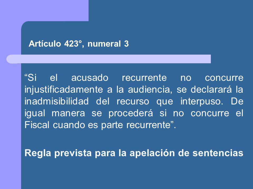 Regla prevista para la apelación de sentencias