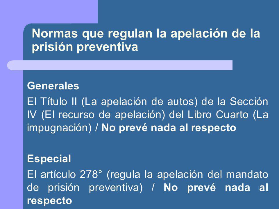 Normas que regulan la apelación de la prisión preventiva