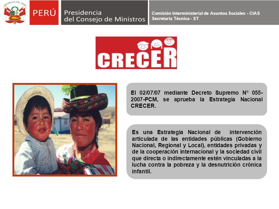 El 02/07/07 mediante Decreto Supremo Nº 055-2007-PCM, se aprueba la Estrategia Nacional CRECER.