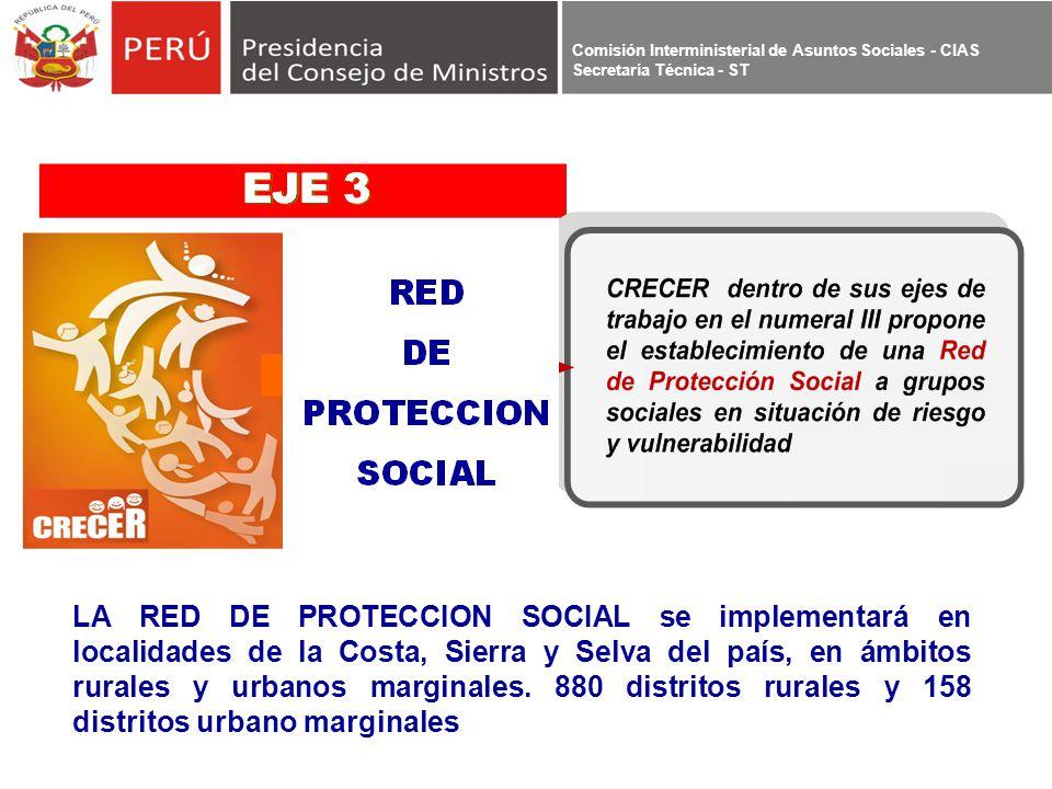 LA RED DE PROTECCION SOCIAL se implementará en localidades de la Costa, Sierra y Selva del país, en ámbitos rurales y urbanos marginales.