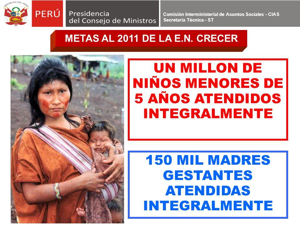 UN MILLON DE NIÑOS MENORES DE 5 AÑOS ATENDIDOS INTEGRALMENTE