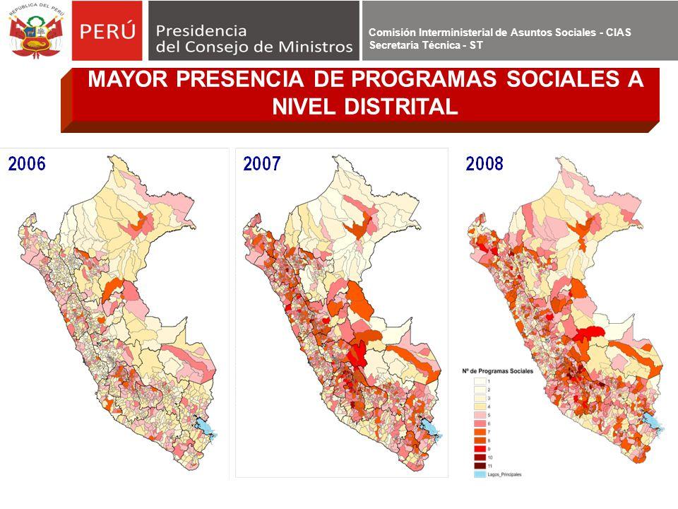 MAYOR PRESENCIA DE PROGRAMAS SOCIALES A NIVEL DISTRITAL