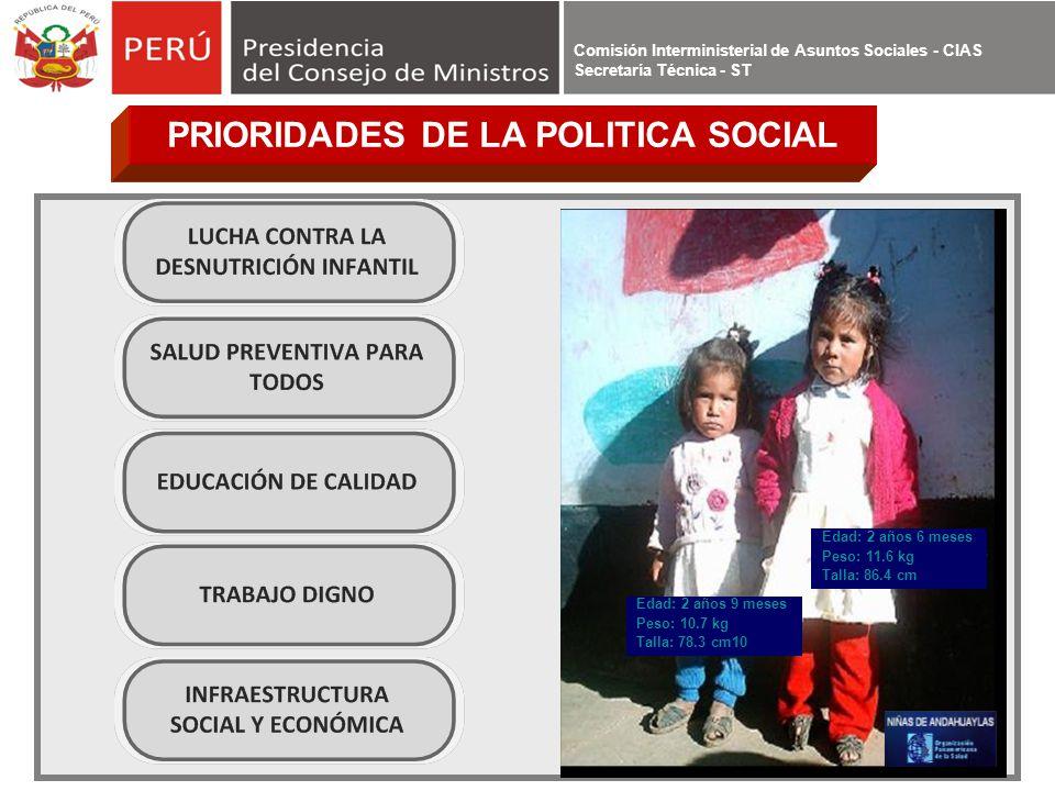 PRIORIDADES DE LA POLITICA SOCIAL