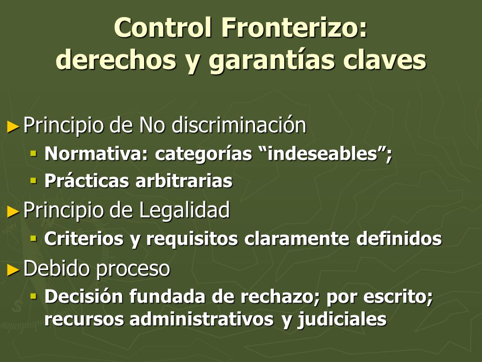 Control Fronterizo: derechos y garantías claves