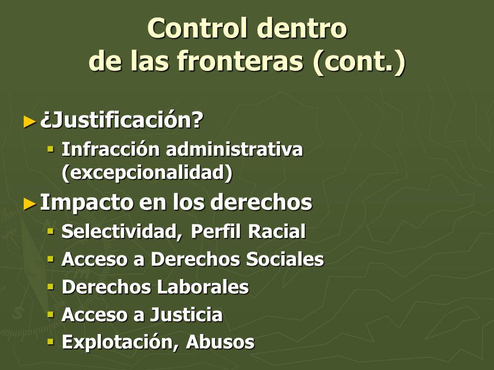 Control dentro de las fronteras (cont.)