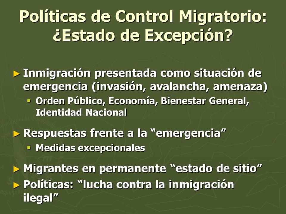 Políticas de Control Migratorio: ¿Estado de Excepción