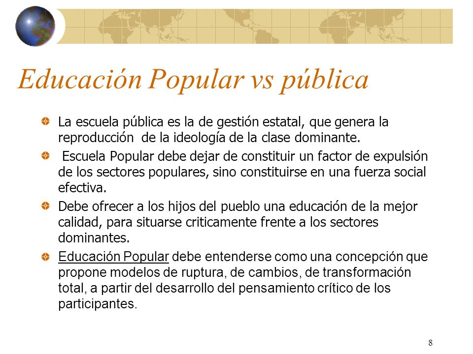 Educación Popular vs pública