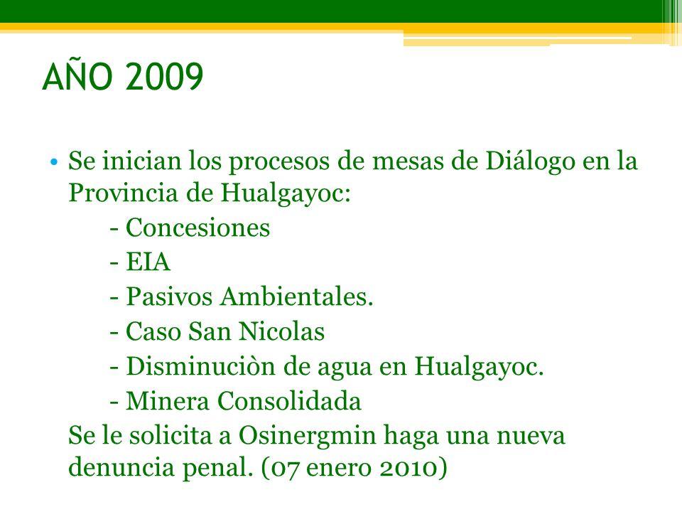 AÑO 2009 Se inician los procesos de mesas de Diálogo en la Provincia de Hualgayoc: - Concesiones.