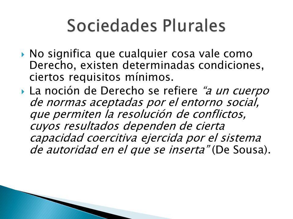 Sociedades Plurales No significa que cualquier cosa vale como Derecho, existen determinadas condiciones, ciertos requisitos mínimos.