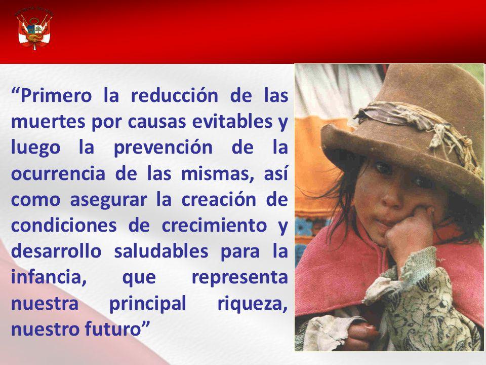 Primero la reducción de las muertes por causas evitables y luego la prevención de la ocurrencia de las mismas, así como asegurar la creación de condiciones de crecimiento y desarrollo saludables para la infancia, que representa nuestra principal riqueza, nuestro futuro