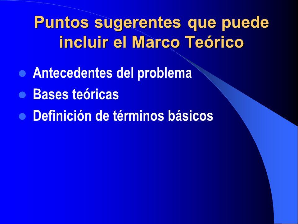 Puntos sugerentes que puede incluir el Marco Teórico