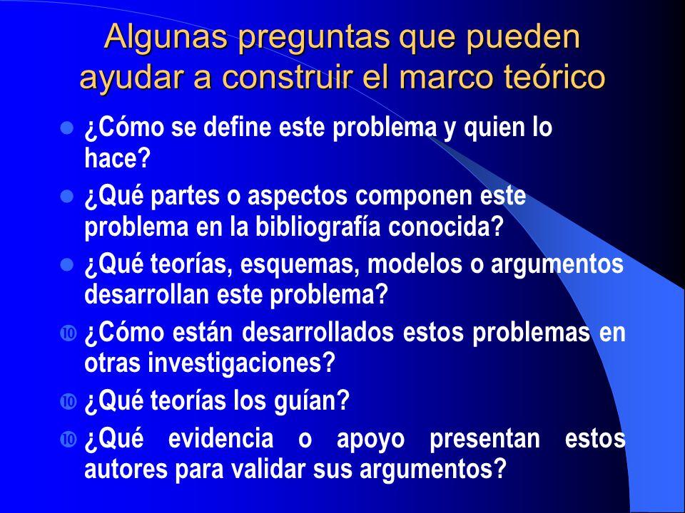 Algunas preguntas que pueden ayudar a construir el marco teórico