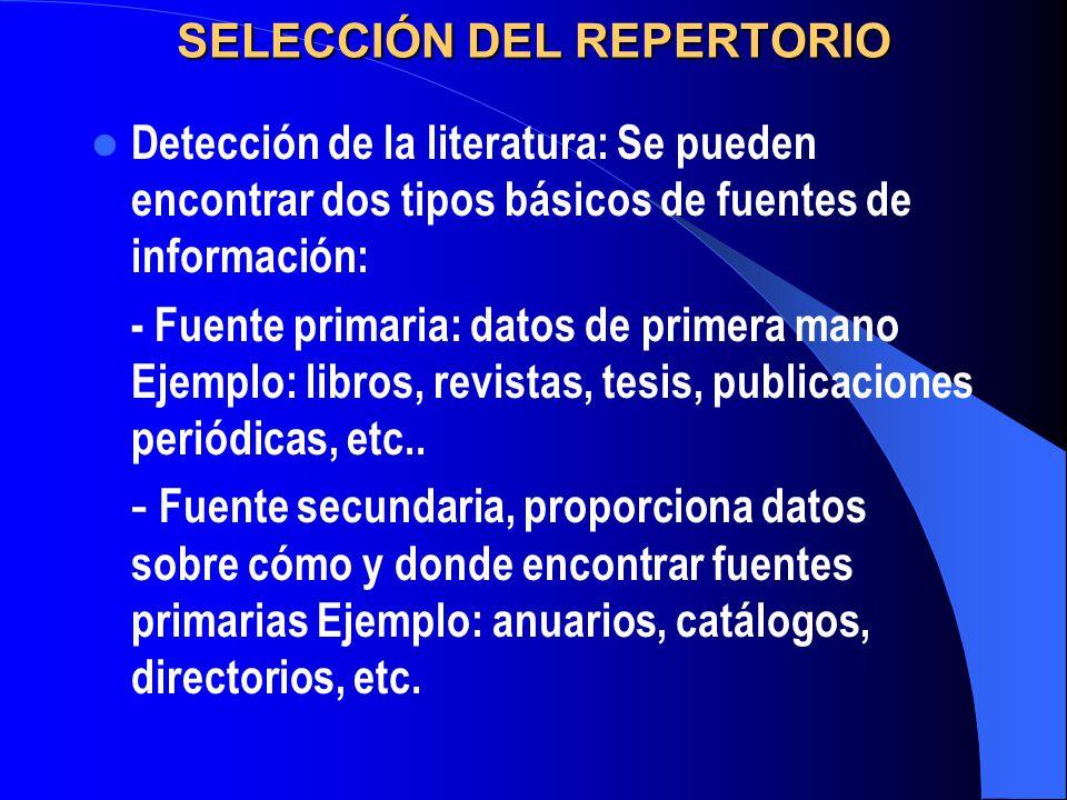 SELECCIÓN DEL REPERTORIO
