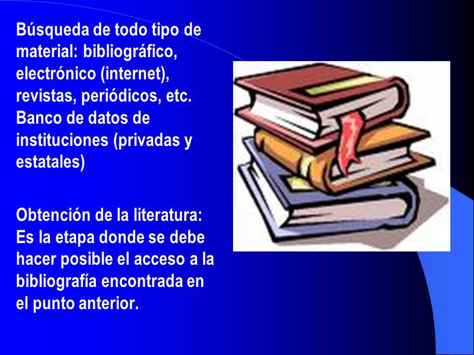 Búsqueda de todo tipo de material: bibliográfico, electrónico (internet), revistas, periódicos, etc. Banco de datos de instituciones (privadas y estatales)
