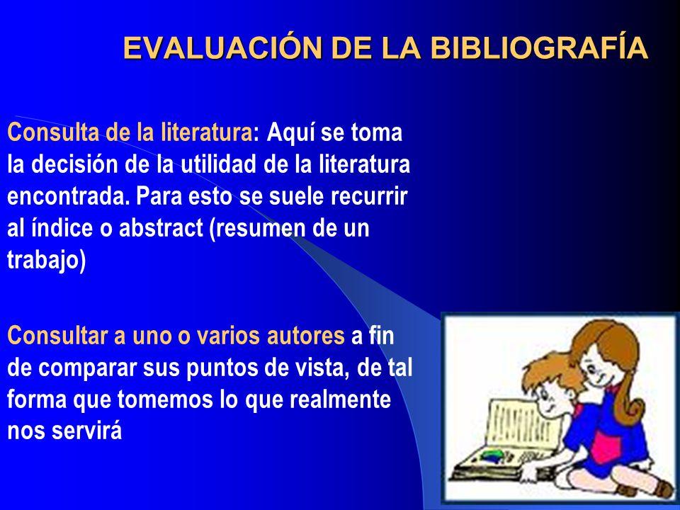 EVALUACIÓN DE LA BIBLIOGRAFÍA
