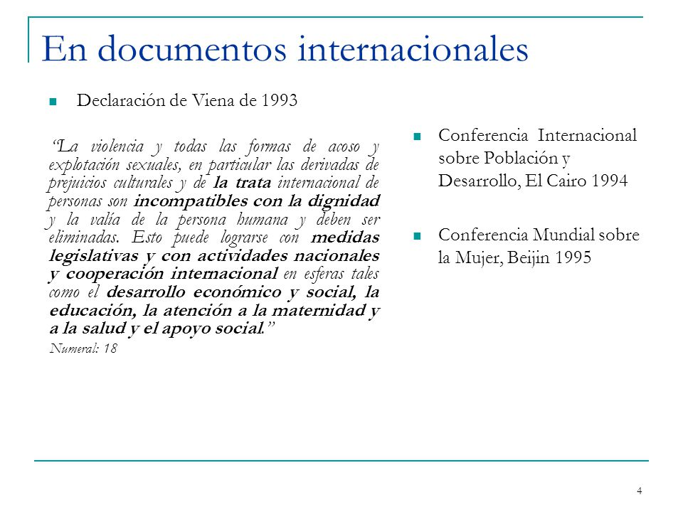 En documentos internacionales