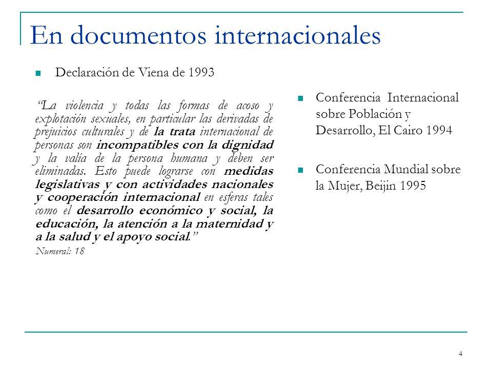 En documentos internacionales