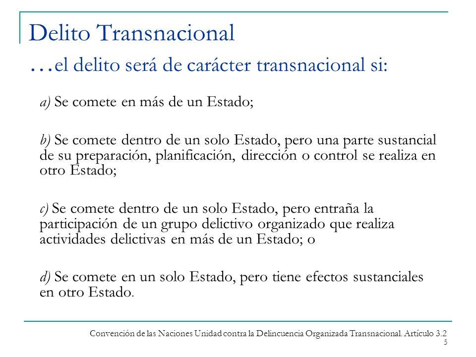 Delito Transnacional …el delito será de carácter transnacional si: