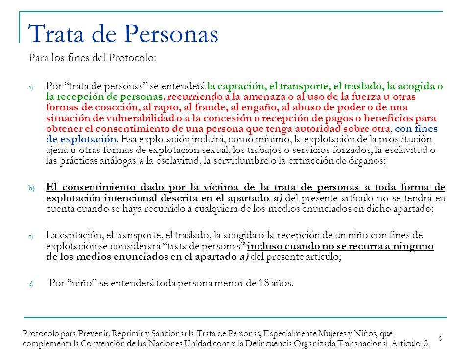 Trata de Personas Para los fines del Protocolo: