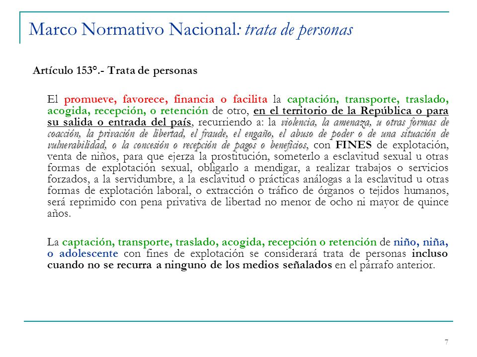 Marco Normativo Nacional: trata de personas